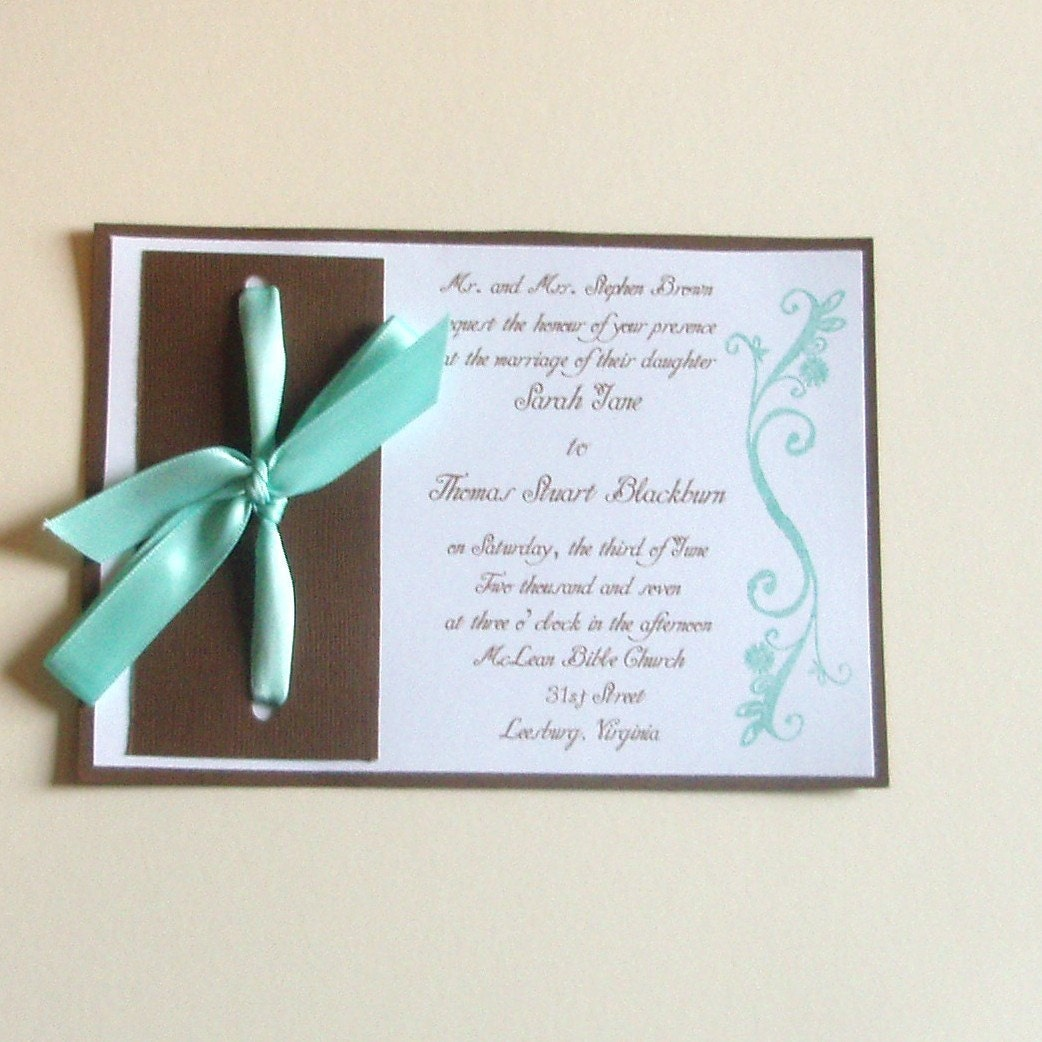 Turquoise and Brown Wedding Invitations SAMPLE