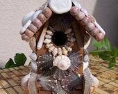 Wood BIRDHOUSE Decorated With Seashells