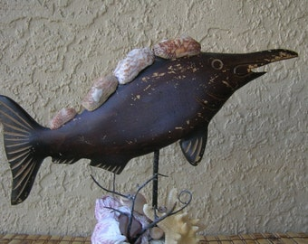 WOODEN FISH Decorated With Seashells, Fish statue, Nautical decor,