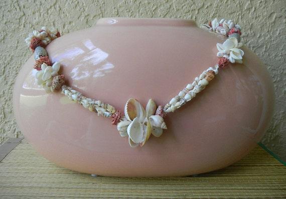 Ceramic Vase, Peach/Pink, embellished with vintage seashells, large vase