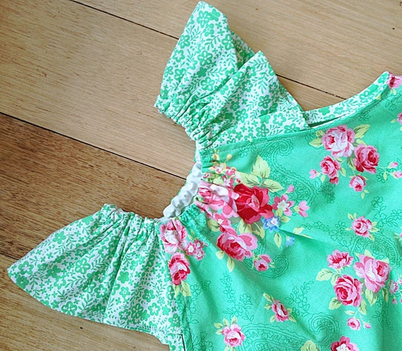 Fresh green and pink rosy dress, Sizes 4 years