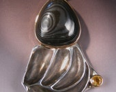 Psilomelane Sapphire in Sterling Silver and 14 karat gold Pendant Pluto Planet Or Not