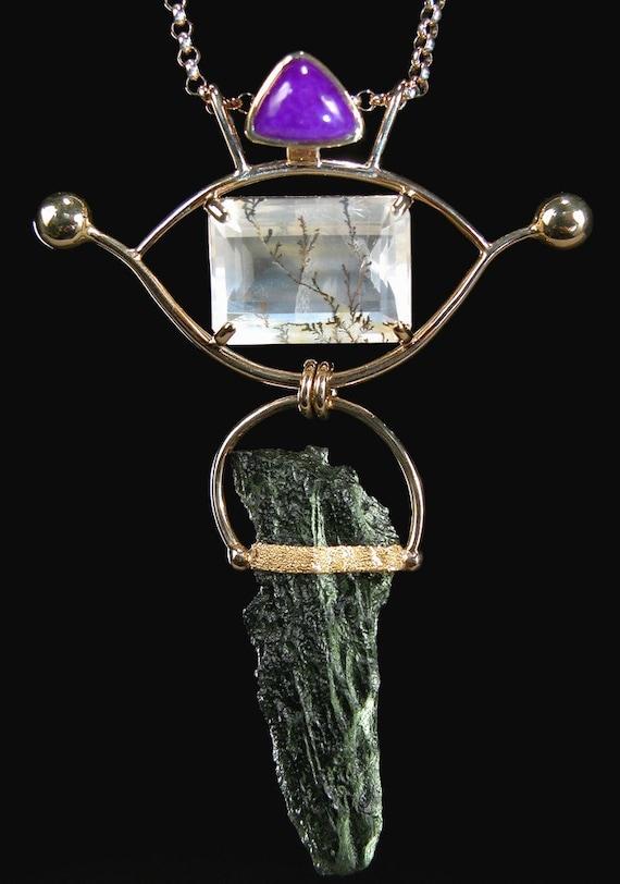 Moldavite Pendant in 18karat Gold with Gel Sugilite and Dendritic Quartz SPRING