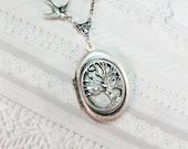 Silver Locket Necklace - Silver Sleepy Hollow Locket - Jewelry by BirdzNbeez