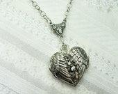 Silver Locket Necklace - GUARDIAN ANGEL- Silver Angel Wing LOCKET- Jewelry by BirdzNbeez -  Christmas Wedding Birthday Bridesmaids Gift