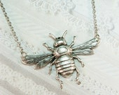 Silver Bee Necklace - Silver Queen Bee Necklace - Jewelry by BirdzNbeez