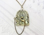Brass Locket Necklace - Blossom FAIRY DOOR Locket - The ORIGINAL -  Jewelry by BirdzNbeez - Pixie Wedding Birthday Bridesmaid Gift