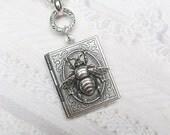 Silver Locket Silver Bee Keeper - ORIGINAL Silver Book Locket - Bee Necklace by BirdzNbeez -  Wedding Birthday Bridesmaids Gift