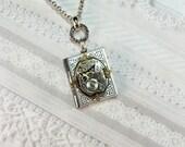 Silver Locket - Steampunk Book Locket - Necklace by BirdzNbeez