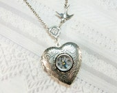 Silver Compass Locket - The ORIGINAL Heart Locket Necklace - Follow Your Heart COMPASS - Valentine's Day Wedding Birthday Bridesmaid Gift