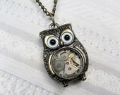 ROBOT & OWL  (2)  Brass Owl Necklace - Steampunk Owl Necklace - Jewelry by BirdzNbeez