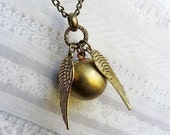 Golden Snitch Necklace - Harry Potter and The GOLDEN SNITCH  - Jewelry by BirdzNbeez - Christmas Wedding Birthday Gift