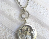 Silver Moon Necklace - Steampunk Moon Star Necklace -  Moon  Luna - Jewelry by BirdzNbeez - Christmas Birthday Wedding Bridesmaid Gift