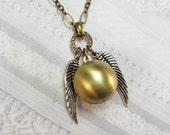 Brass Necklace - The Golden Snitch - Silver Wings - Jewelry by BirdzNbeez