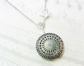 Silver Locket Necklace -  Silver Filigree Scent Locket - Scent Locket - Jewelry by Birdznbeez - Valentine's Day Wedding Birthday