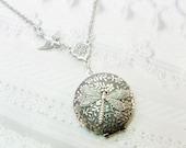 Silver Locket Necklace - ORIGINAL Silver Dragonfly Locket - Wedding Birthday Bridesmaids Gift