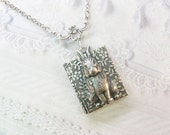 Silver Locket Necklace - The ORIGINAL Silver BUNNY RABBIT Book Locket - by BirdzNbeez - Easter Wedding Birthday Bridesmaids Gift