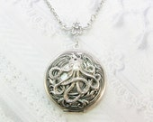 Silver Locket Necklace- The ORIGINAL Silver  OCTOPUS LOCKET  - by BirdzNbeez - Mother's Day Wedding Birthday Bridesmaids Gift