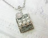Silver Locket Necklace - The ORIGINAL Silver Garden OWL LOCKET - by BirdzNbeez -  Wedding Birthday Bridesmaids Gift