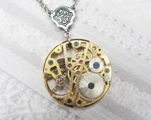 Silver Gold STEAMPUNK NECKLACE - The ORIGINAL Steampunk Gear Necklace - Jewelry by BirdzNbeez - Wedding Birthday Gothic Steampunk Gift
