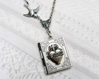 The ORIGINAL Silver Book Locket - Silver Sacred Heart BOOK LOCKET - Jewelry by BirdzNbeez - Wedding Birthday Confirmation Communion Gift