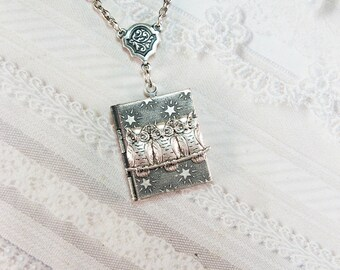 Silver Locket Necklace - Silver Night Owls Locket - by BirdzNbeez