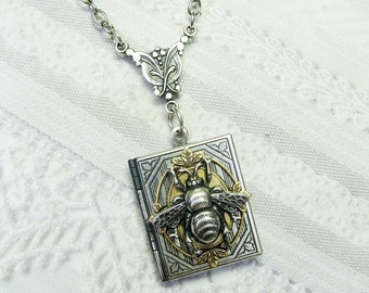 Silver Locket Necklace - The Silver Bee Keeper Book Locket - Jewelry by BirdzNbeez