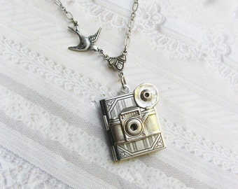 Silver Locket Necklace - The ORIGINAL Silver CAMERA Book Locket - PHOTO Album - Jewelry by Birdznbeez - Graduation Photographer Birthday