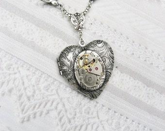 Silver Steampunk Heart Locket  - Silver Victorian Romance- Jewelry by BirdzNbeez