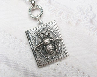 Silver Locket Silver Bee Keeper - ORIGINAL Silver Book Locket - Bee Necklace by BirdzNbeez -  Wedding Birthday Bridesmaids Gift