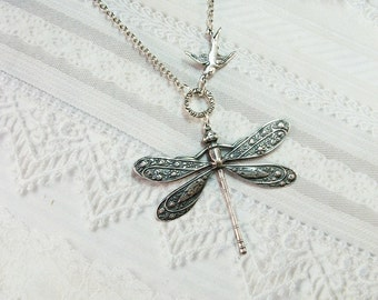 Silver Necklace  - SILVER DRAGONFLY and Sparrow Necklace - Jewelry by BirdzNbeez - Wedding Birthday Bridesmaid Gift