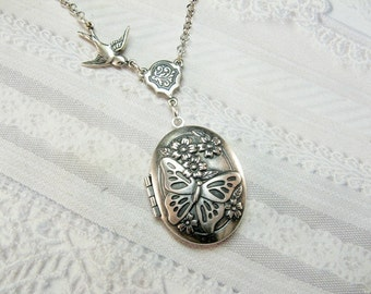 Silver Locket Necklace - SILVER BUTTERFLY Locket - The ORIGINAL  - Christmas Wedding Birthday Bridesmaids Gift