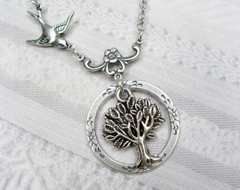 Eternity Tree of Life - Silver Tree Necklace - by BirdzNbeez - Wedding Bridesmaids Friendship Birthday
