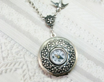 Compass Locket  - Silver Compass Locket - The Original - Steampunk COMPASS LOCKET - Mother's Day Wedding Birthday Bridal Graduation Gift