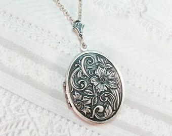 Silver Locket Necklace - Flower Garden - Jewelry by BirdzNbeez - Wildflower Woodland Wedding Bridesmaid