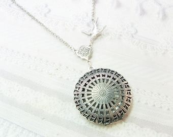 Silver Locket Necklace -  Silver Filigree Scent Locket - Jewelry by Birdznbeez
