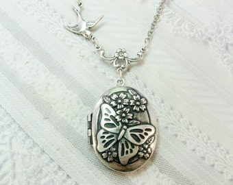 Silver Locket Necklace - Silver Butterfly Locket - Jewelry by BirdzNbeez - Wedding Birthday Bridesmaids Daughter