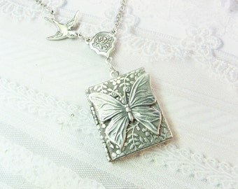 Silver Locket Necklace - Silver Butterfly Garden Book Locket - Jewelry by BirdzNbeez