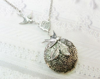 Silver Locket Necklace - SILVER BIRD Nest Locket - An ORIGINAL - Jewelry by BirdzNbeez - Wedding Birthday Bridesmaids Gift