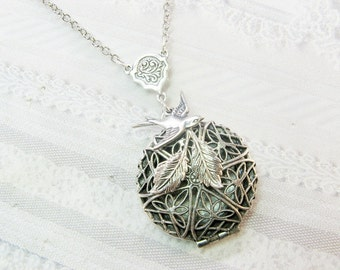Silver Locket Necklace- Silver Nesting Bird SCENT LOCKET - The ORIGINAL - Jewelry by BirdzNbeez -  Wedding Birthday Bridesmaids Gift