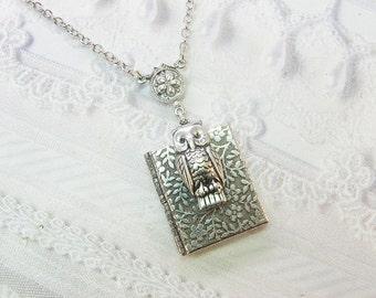 Silver Locket Necklace - Silver Garden Owl Book Locket -  Owl Locket - Jewelry by BirdzNbeez - Wedding Teacher Birthday