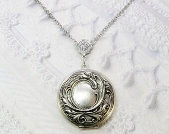 Silver Locket Necklace - Silver Victorian Romance Heart Locket - by BirdzNbeez - Valentine's Day  Wedding Birthday Bridesmaids Gift
