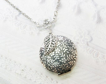 Silver Locket Necklace - Silver Flowering Vine Locket - Jewelry by BirdzNbeez - Mother's Day Wedding Bridesmaids Birthday