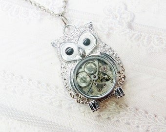 The ORIGINAL Silver Owl Necklace - STEAMPUNK OWL - Jewelry by BirdzNbeez -  Wedding Birthday Bridesmaids Gift