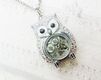 ORIGINAL Silver Owl Necklace - STEAMPUNK OWL Necklace - Jewelry by BirdzNbeez - Graduation Day Wedding Birthday Bridesmaids Gift