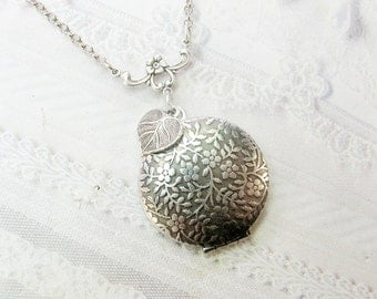 Silver Locket Necklace - Silver Falling Leaves Locket - by BirdzNbeez