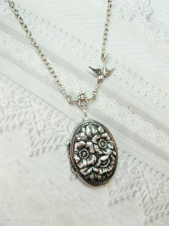 Silver Locket Necklace Secret Garden Locket Jewelry By