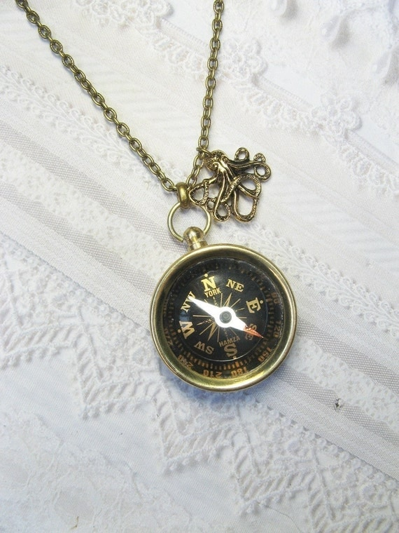 Compass Necklace - Brass Octopus COMPASS - Jewelry by BirdzNbeez