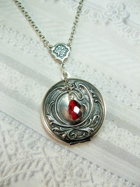 Silver Locket Necklace - Silver Love Locket - Silver Elena's Locket Vampire Diaries - BirdzNbeez - Valentine's Day Wedding Birthday