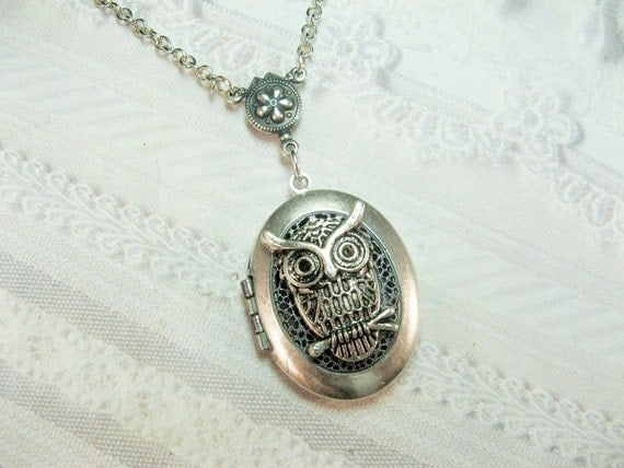Silver Locket Necklace - Owl Locket - The ORIGINAL Silver Owl SCENT LOCKET - Jewelry  by BirdzNbeez - Wedding Birthday Bridesmaid Teacher